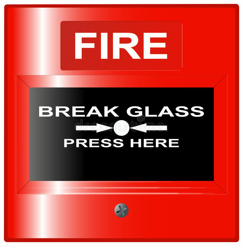 Emergency Fire Button Red royalty free illustration