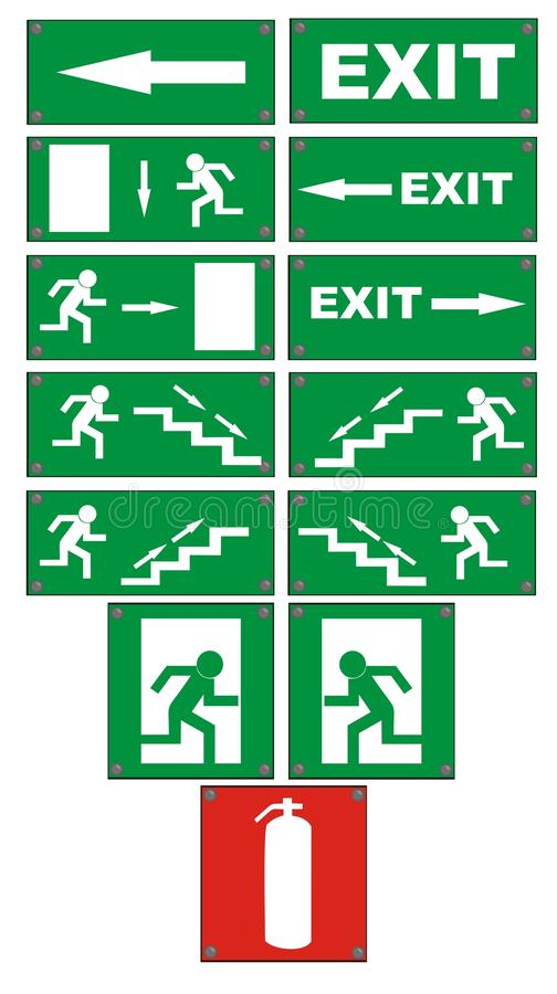 Free Emergency Fire Escape Signs Stock Photos - 9649743