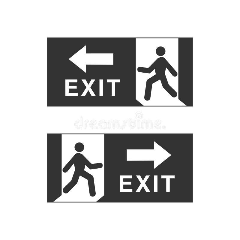 Emergency fire exit door and exit door stock illustration