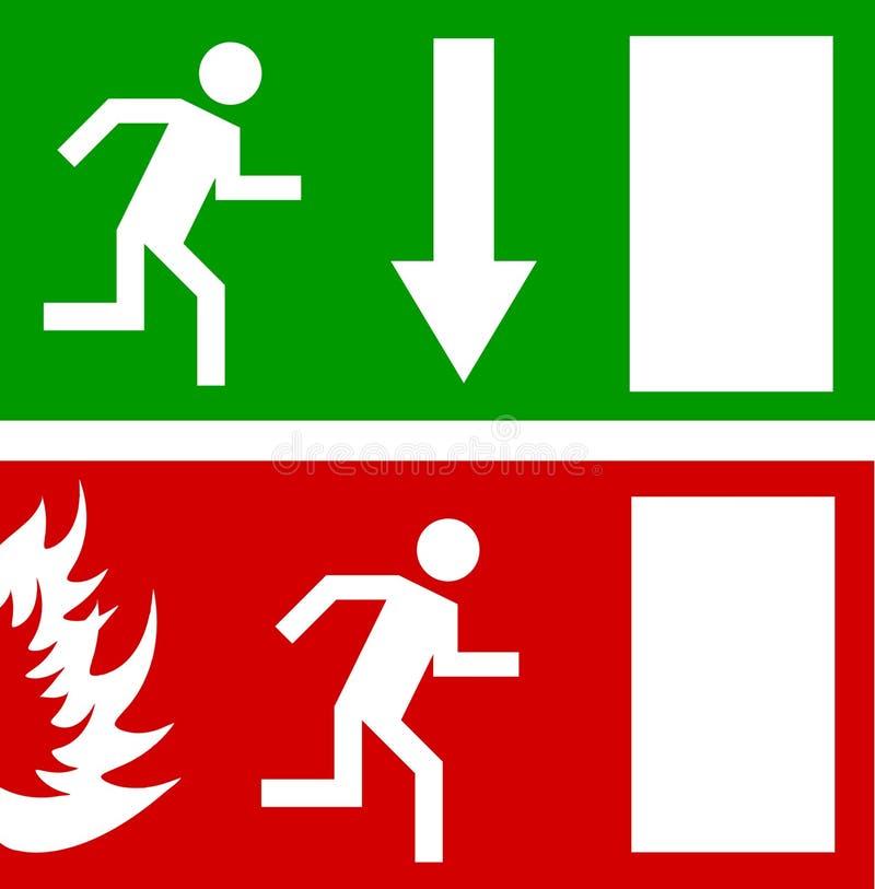 Emergency fire exit door and exit door royalty free illustration
