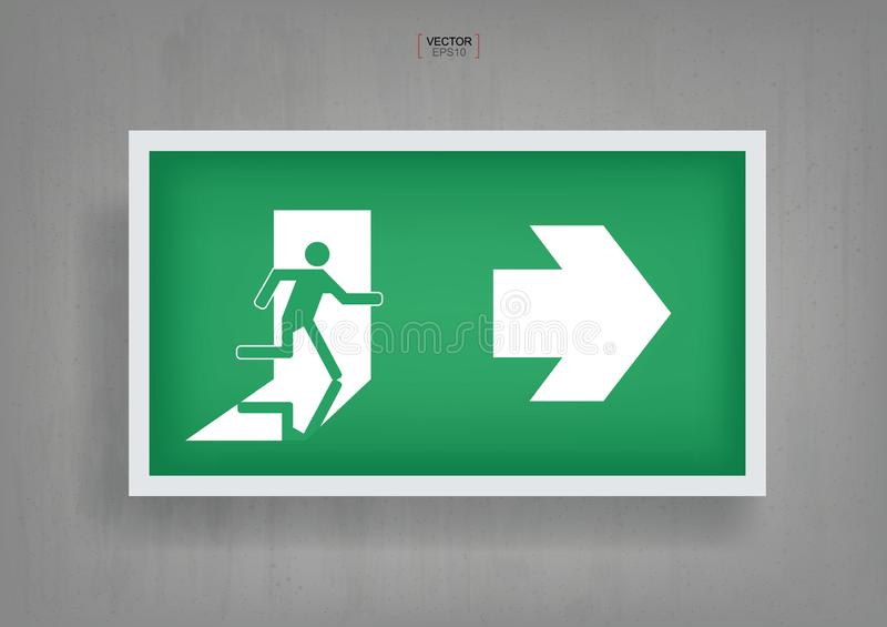 Emergency fire exit door symbol on gray concrete background. Vector. vector illustration