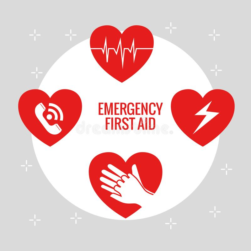 Emergency first aid icons stock illustration