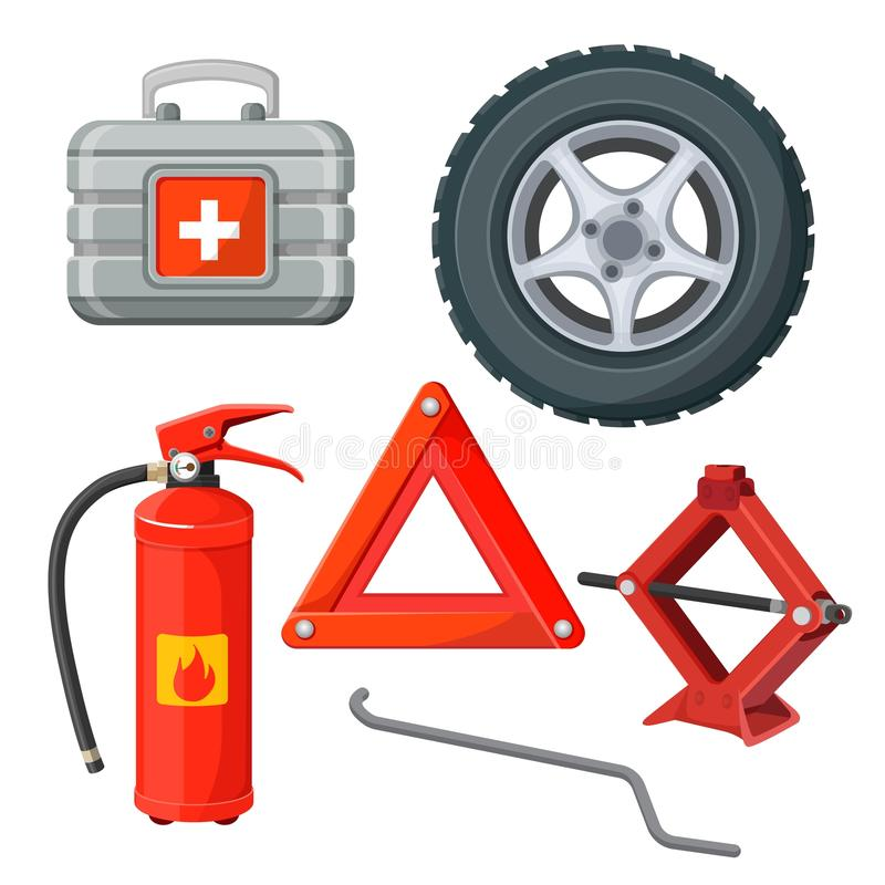 Emergency first aid kit in car, fire extinguisher, emergency sign vector illustration