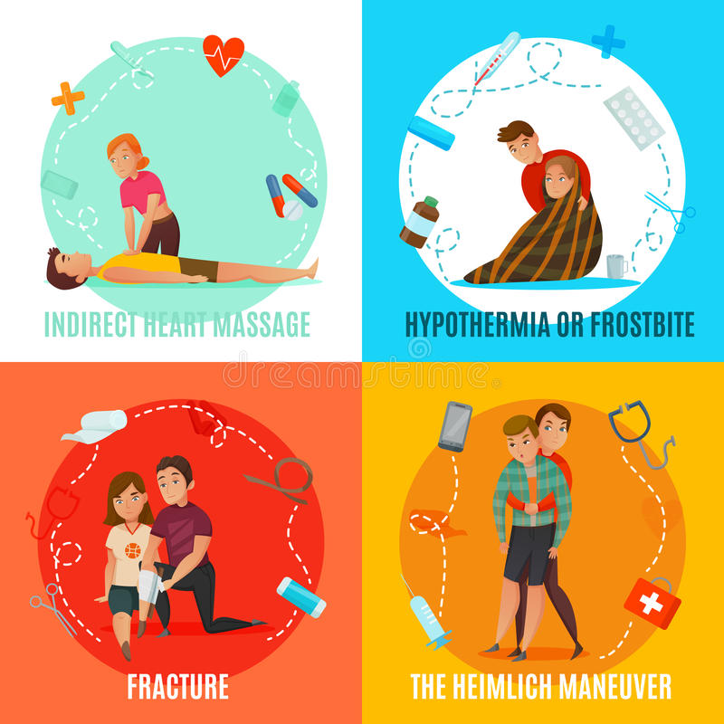 Emergency First Aid People Concept. Four square icon set with emergency first aid people concept and with indirect heart massage fracture hypothermia and the stock illustration