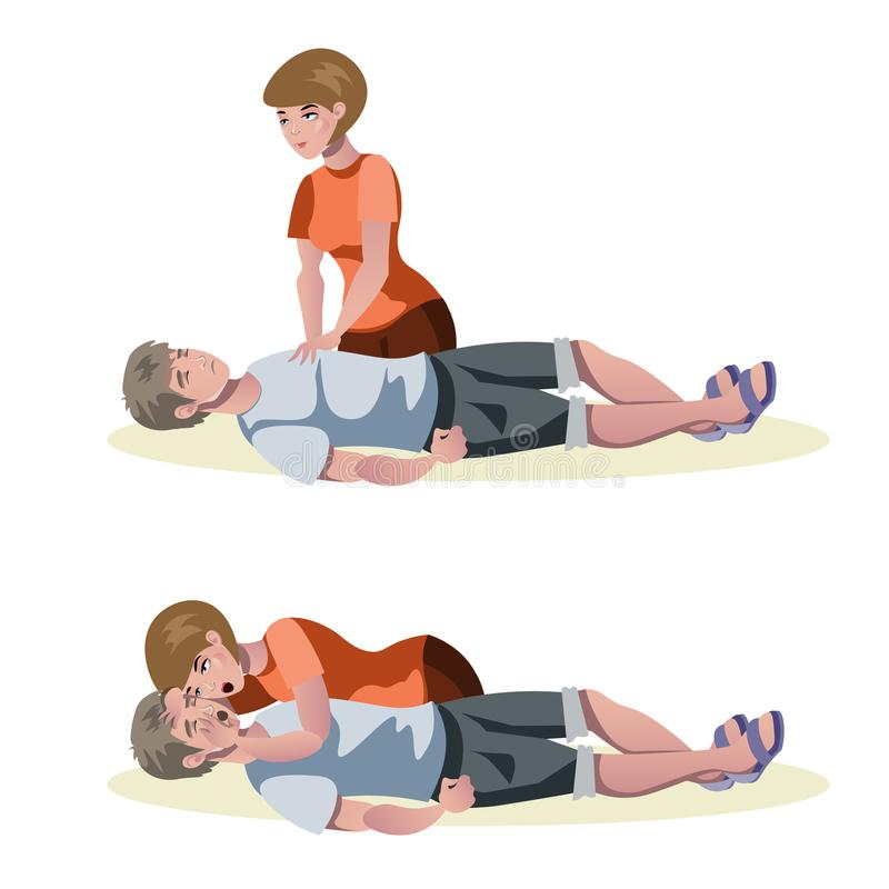 Emergency first aid resuscitation procedures royalty free illustration