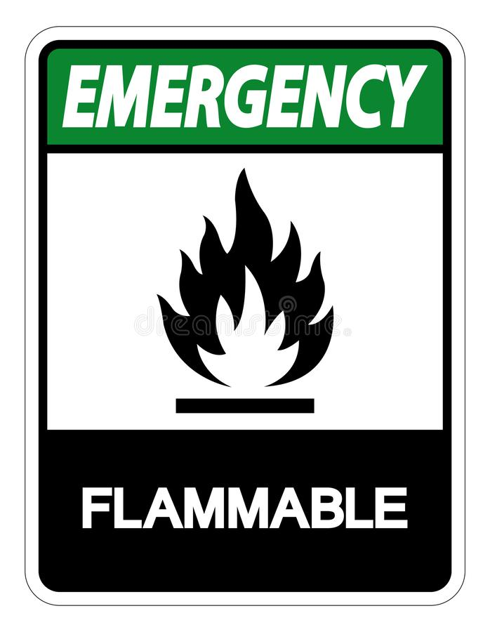 Emergency Flammable Symbol Sign Isolate On White Background,Vector Illustration. Icon, danger, caution, warning, pictogram, environment, fire, hazard, risk royalty free illustration