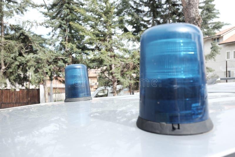 Emergency flashing lights. Two emergency flashing lights blue stock image