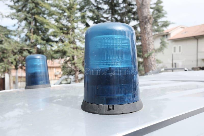 Emergency flashing lights. Two emergency flashing lights blue royalty free stock photos