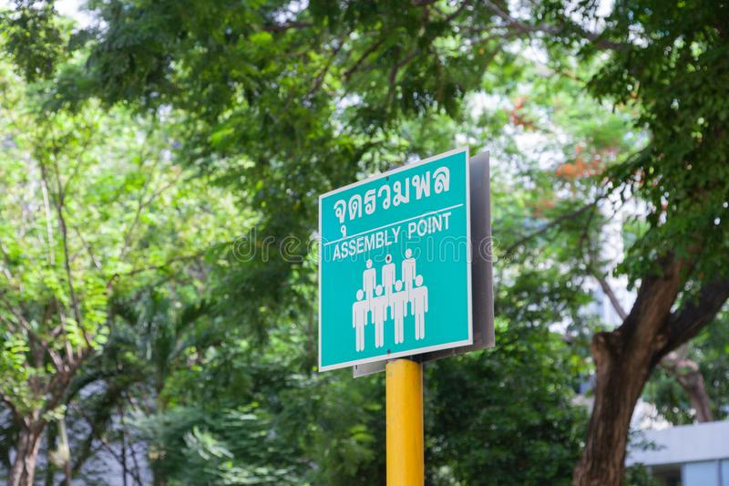 Emergency assembly point sign translate in Thai. Emergency green assembly point sign translate in Thai royalty free stock image