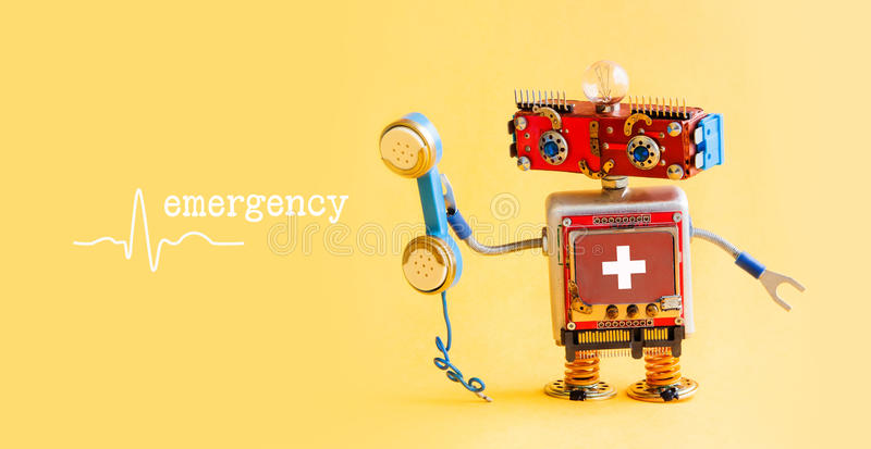 Emergency helpline medical service call center concept. Friendly robot doctor with retro styled phone. First aid. Advertisement template poster. Friendly toy stock photo