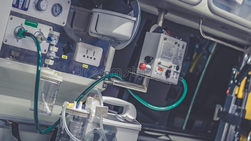 Emergency Hospital Bed With Medical Supplies. For Help Advance Emergency Care stock images