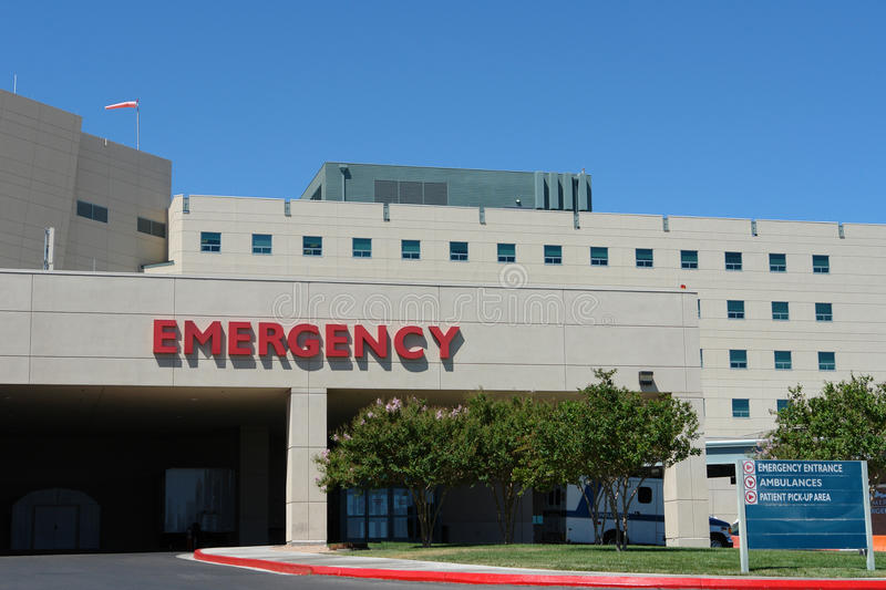 Emergency hospital building. Modern hospital building in front of Emergency entrance royalty free stock photo