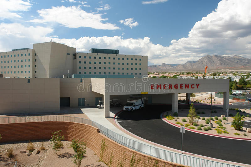 Emergency hospital building. A beautiful day surrounds this emergency hospital building stock image