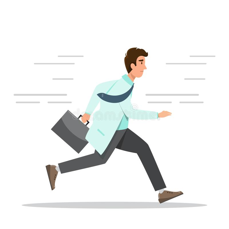 Emergency Hospital Concept. doctor running with bag. Vector illustration in a flat style cartoon character, medical, male, health, care, aid, stethoscope vector illustration