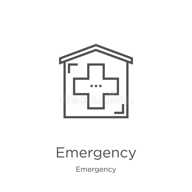 Emergency icon vector from emergency collection. Thin line emergency outline icon vector illustration. Outline, thin line. Emergency icon. Element of emergency stock illustration