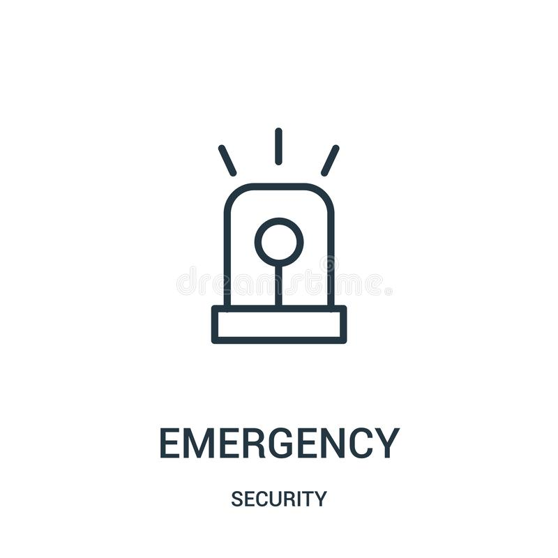 Emergency icon vector from security collection. Thin line emergency outline icon vector illustration. Linear symbol. For use on web and mobile apps, logo, print royalty free illustration
