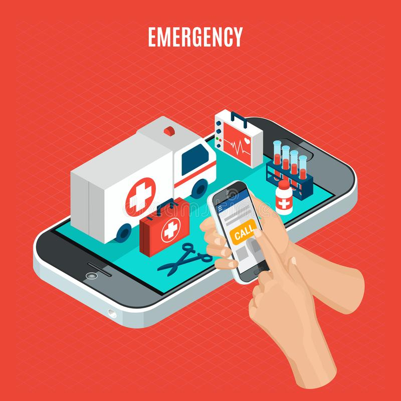 Emergency Isometric Concept. Emergency call isometric concept with ambulance car and medical equipment for examination and analysis 3d vector illustration royalty free illustration