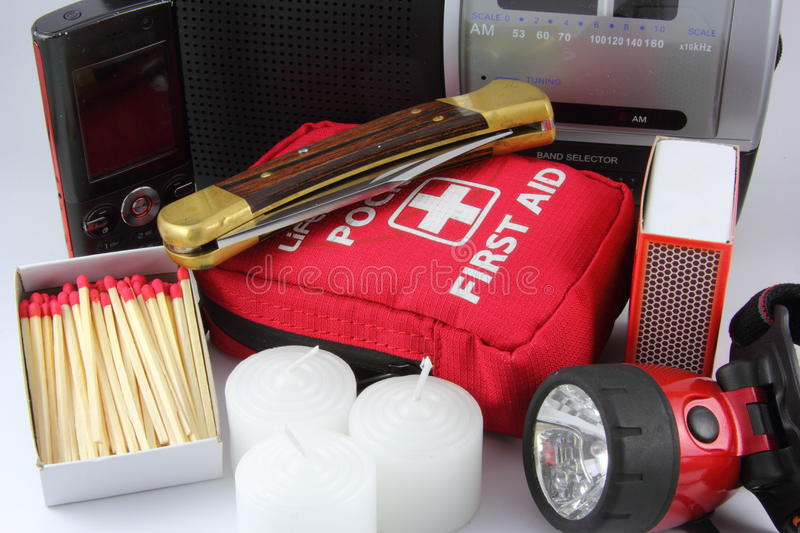 Emergency Kit. A group of items useful for an emergency kit stock images