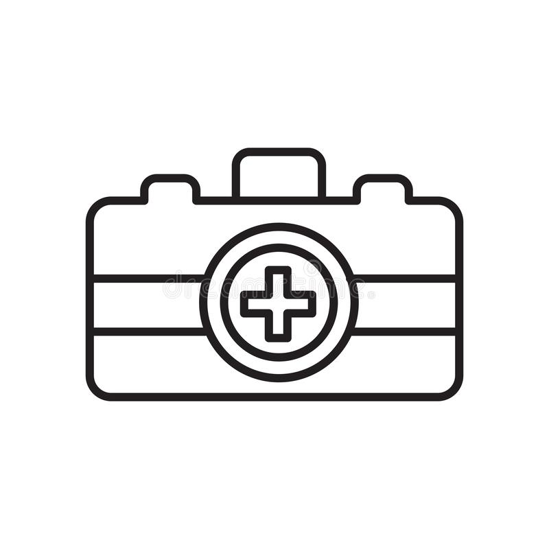 Emergency kit icon vector isolated on white background, Emergency kit sign , sign and symbols in thin linear outline style royalty free illustration