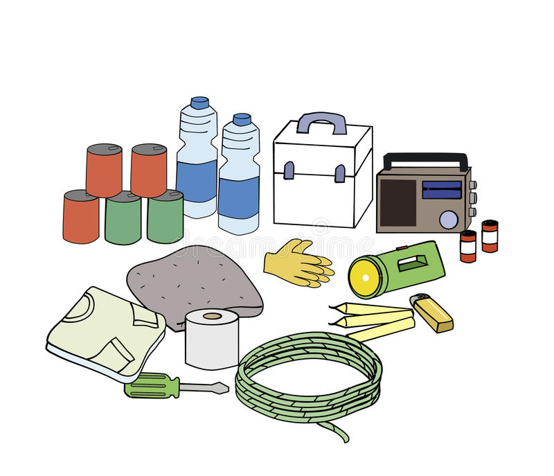 Emergency kits. Essencial emergency kits when the disaster happen stock illustration