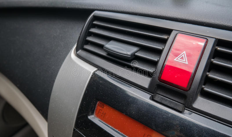 Emergency light buttom on console car.  royalty free stock photography