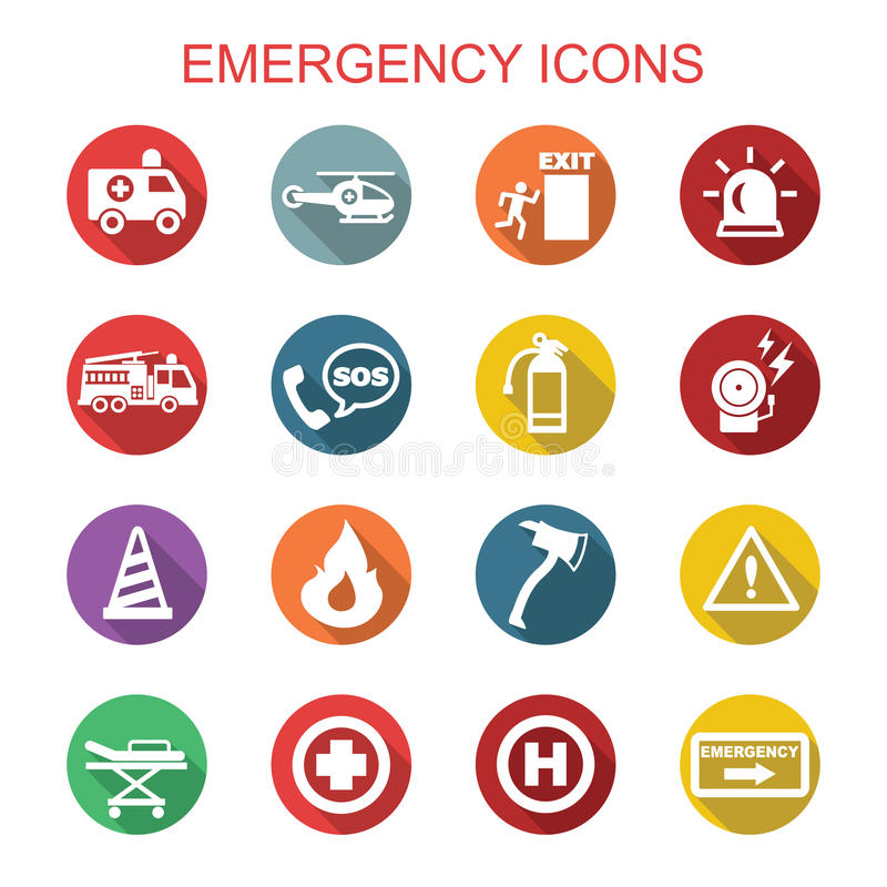 Emergency long shadow icons vector illustration