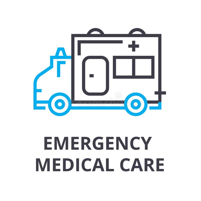 Emergency medical care thin line icon, sign, symbol, illustation, linear concept, vector. Emergency medical care thin line icon, sign, symbol, illustation royalty free illustration