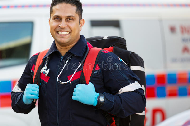Emergency medical service staff stock images