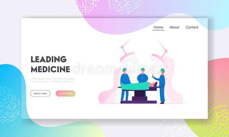 Emergency Medical Treatment Website Landing Page. Surgeon Making Operation to Patient in Hospital or Clinic. Nurses Staff Help Giving Medical Tools Web Page stock illustration