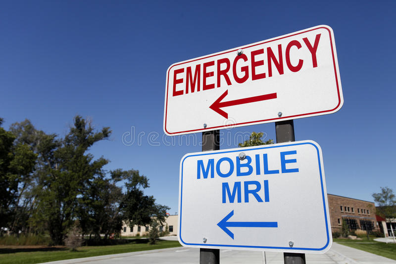 Emergency and Mobile MRI Signs stock photos