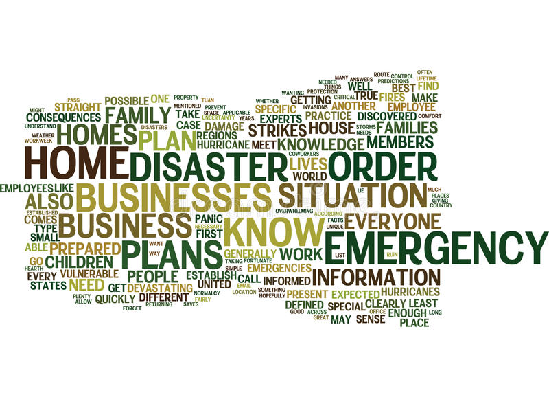 Emergency Plans Are Important For Your Home And Business Word Cloud Concept. Emergency Plans Are Important For Your Home And Business Text Background Word Cloud stock illustration