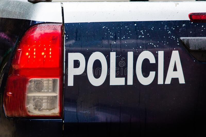 Emergency Police car. Back of a police car with policia text royalty free stock photos
