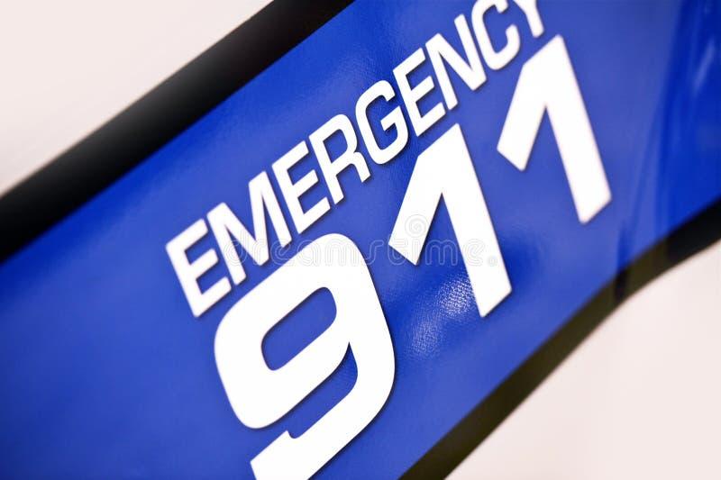 Emergency 911 Police. Cruiser Side Door Sticker Closeup royalty free stock photography