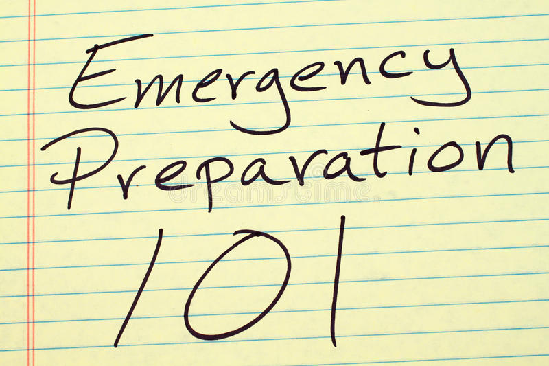Emergency Preparation 101 On A Yellow Legal Pad. The words `Emergency Preparation 101` on a yellow legal pad royalty free stock image