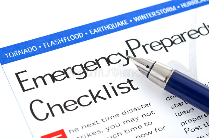Emergency Preparedness Checklist. Fountain pen lying on Emergency Preparedness Checklist form stock photos