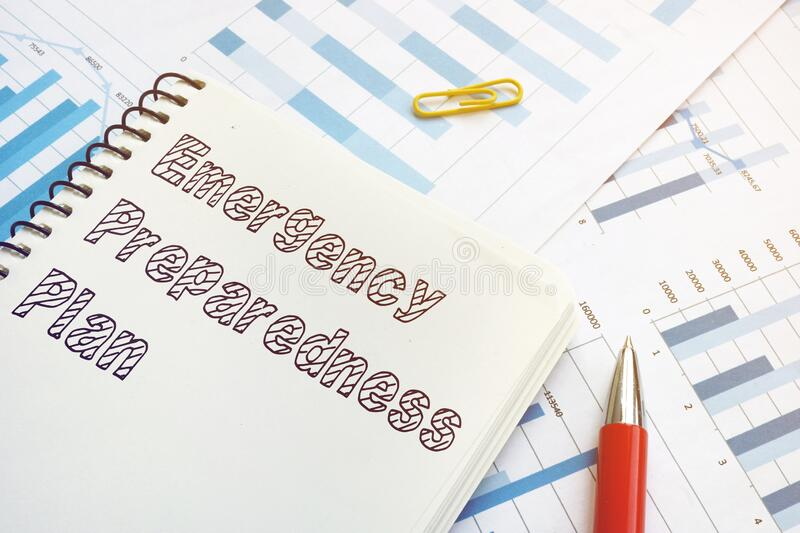 Emergency preparedness plan is shown on the business photo. Emergency preparedness plan is shown on a business photo royalty free stock image