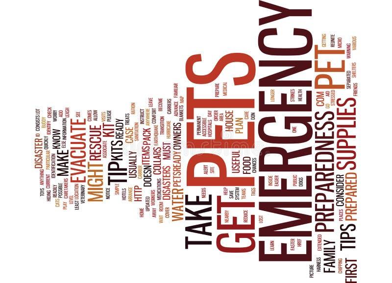 Emergency Preparedness Tips For Pet Owners Word Cloud Concept. Emergency Preparedness Tips For Pet Owners Text Background Word Cloud Concept stock illustration