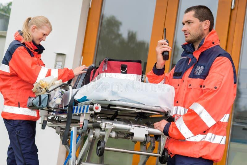 Emergency radio call ambulance house door visit royalty free stock photos