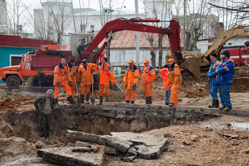 Download Emergency repairs editorial stock image. Image of digger - 24437554