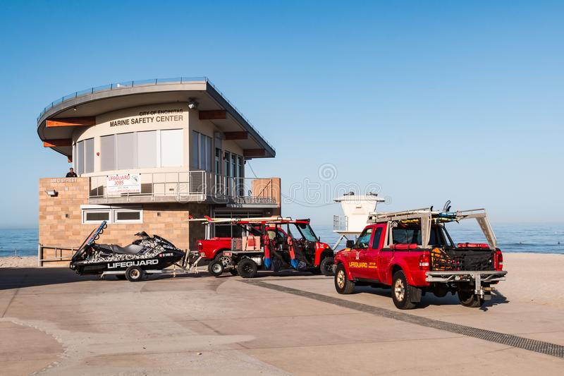 Emergency Rescue Vehicles Parked At the Marine Safety Center at Moonlight Beach stock image