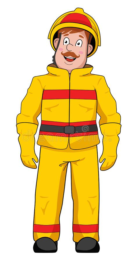 Emergency rescue workers in protective suits and helmets.  royalty free illustration