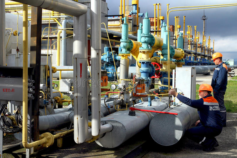 Emergency response exercise employee gas compressor station in C royalty free stock image