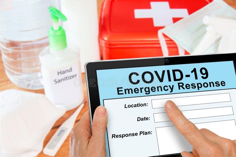 Emergency Response kit for Covid19 Coronavirus with mask and sanitizer royalty free stock photos