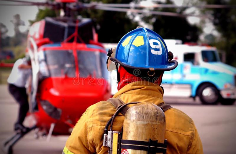Emergency response. Team on the scene of an accident royalty free stock images
