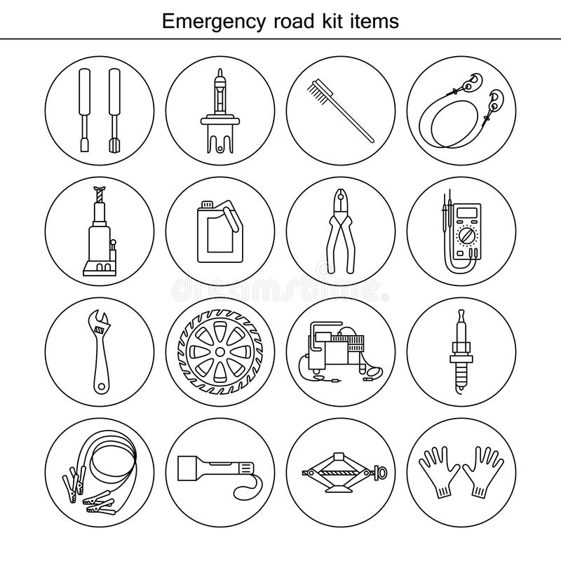 Emergency road kit items. vector illustration
