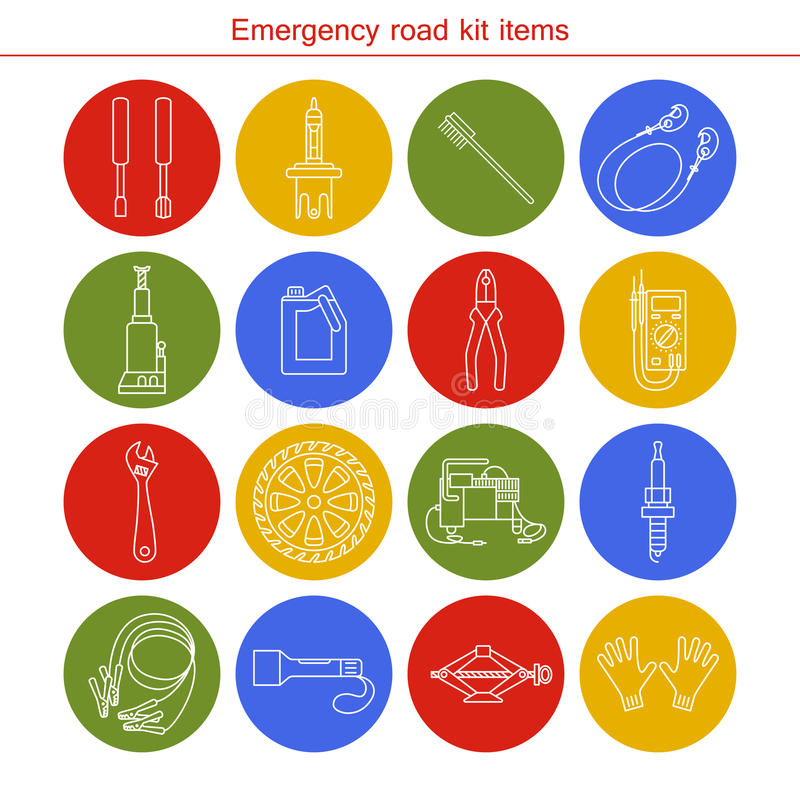 Emergency road kit items vector illustration