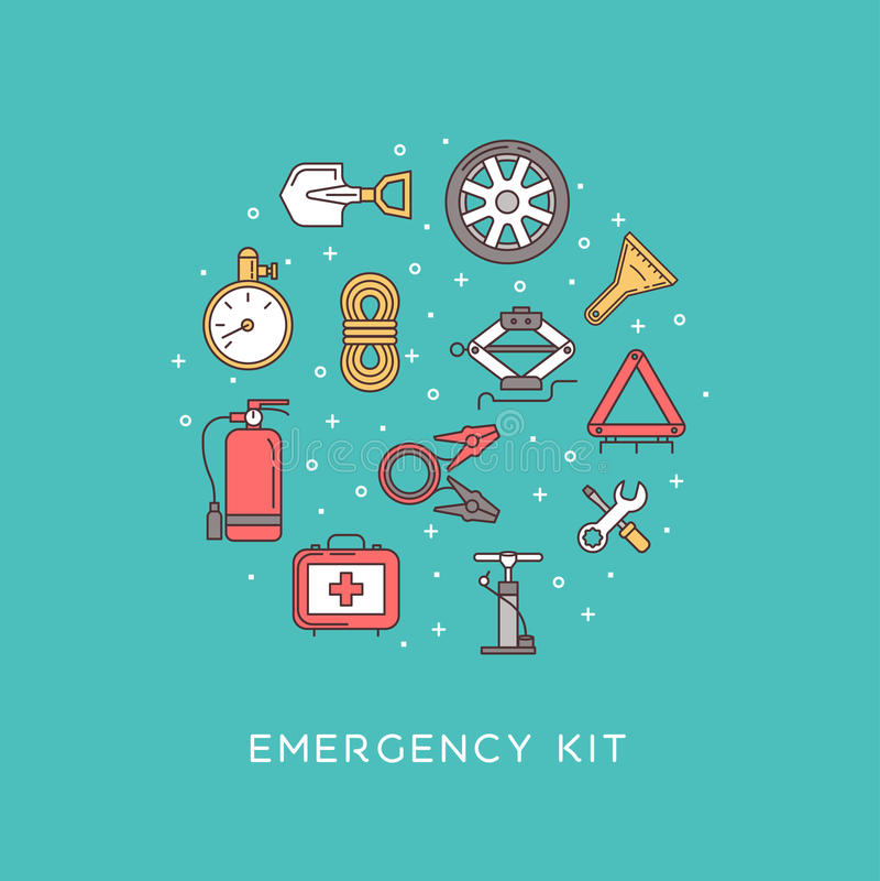 Emergency road kit items royalty free illustration