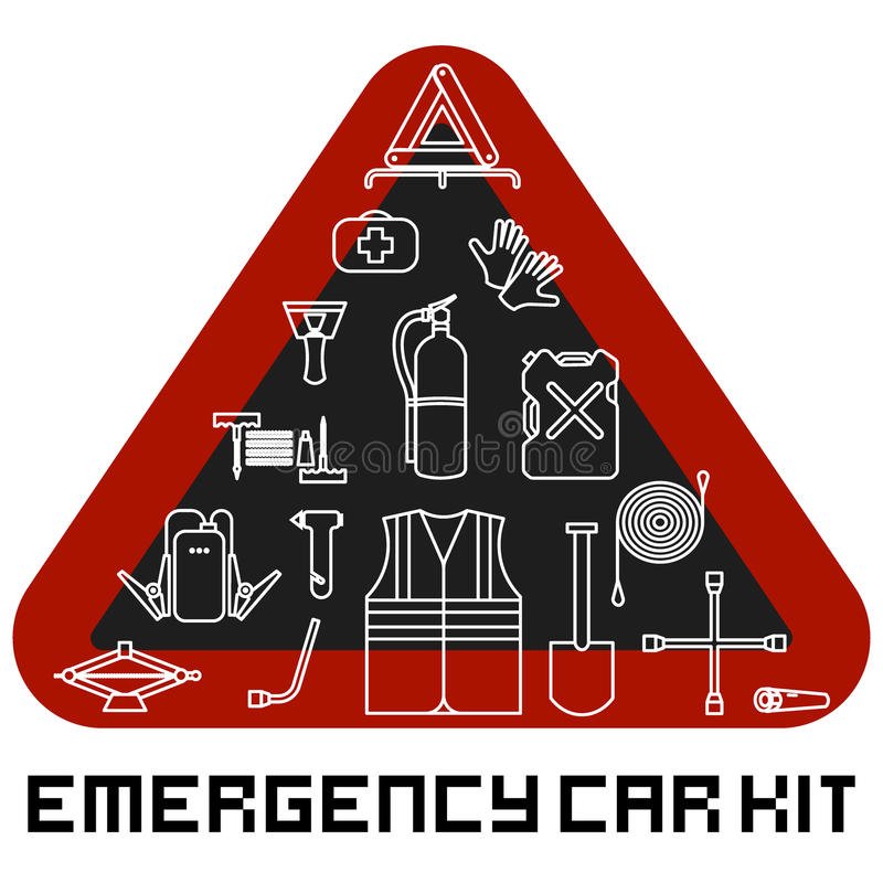 Emergency road kit items set. Car service and repairing equipment. Auto mechanic tools. Ice scraper and jumper cables. Triangle wa vector illustration