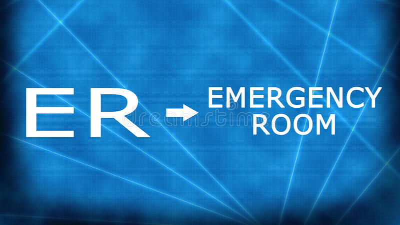 Emergency Room-ER. Emergency room- ER. Illustration to define acronym stock illustration