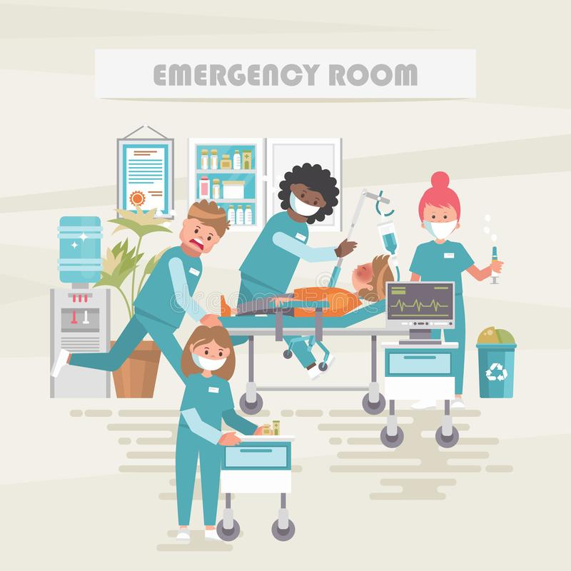 Emergency room. Medical vector concept. Healthcare and treatment illustration. Hospital office. Doctor and patient vector illustration
